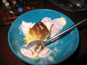 ice cream and cake-- a Sunday breakfast tradition chez Mimi
