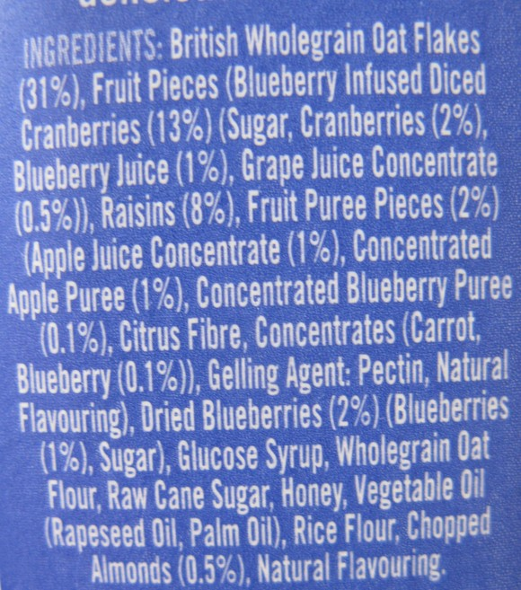 In reality, they have 1% dried, not juicy, blueberries
